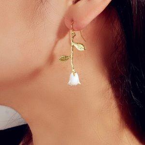 LAST PAIR! Delicate white rose drop earrings